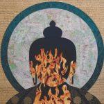 Tenzing Rigdol, Wrathful Dance, silk brocade, collage, 91 x 91 cm, 2014. Used by permission of Trace Foundation.